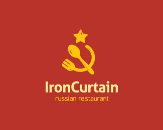 Logo restauracji z rosyjskim jedzeniem, stylizowane na logo zsrr